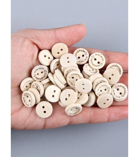 100 Pcs Wooden Buttons Round Shaped DIY