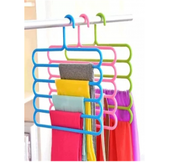 1 Pc Trousers Rack Solid Color Five-Layer Practical Clothes Hanger Storage Rack